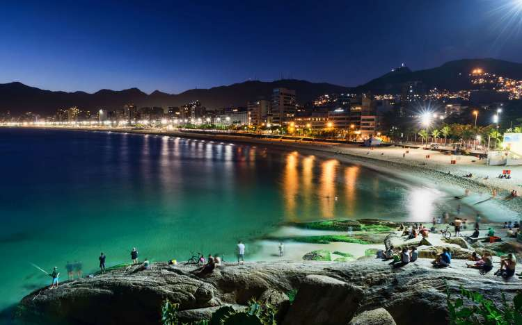 Ipanema Beach by night