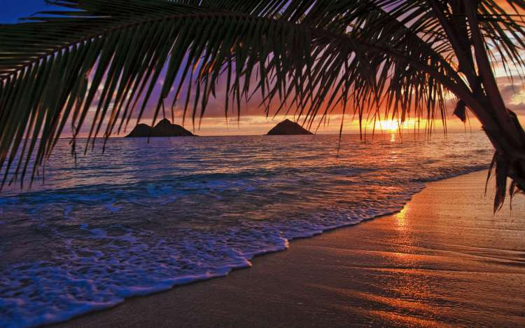 Sunset at Lanikai beach in Hawaii