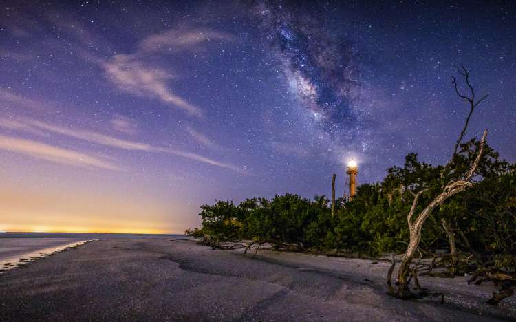 Sanibel Lighthouse beach at night