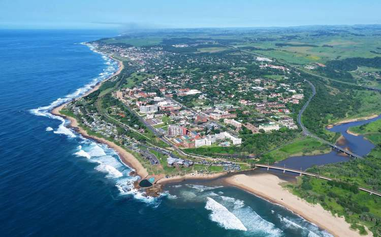 Scottburgh Beach from the air